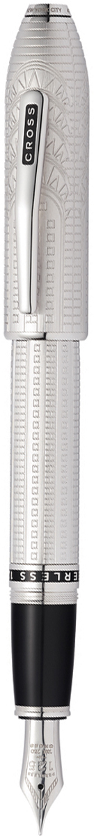 Cross Ручка перьевая Peerless Citizen LE New York цвет корпуса матовый платиновый перо золото 18КAT0706-6FYАмериканская компания CROSS – один из старейших брендов среди производителей пишущих инструментов и деловых аксессуаров. Компания была основана в 1846 году ювелиром Ричардом Кроссом и изначально специализировалась на производстве роскошных ручек из драгоценных металлов и ювелирных корпусов для карандашей, тисненных золотом и серебром. На протяжении долгих лет пишущие инструменты CROSS остаются классическим выбором для подарка.Ручка CROSS — это оригинальный персонгальный подарок и неотъемлемый элемент вашего стиля.Это голос доверия,который создает долгосрочные отношения между людьми и обогащет смыслом драгоценные моменты.Каждая ручка CROSS имеет пожизненную механическую гарантию.Ручка перьевая Cross Peerless 125 SE, New York, Platinum Plated RT (Перо F) / АРТИКУЛ: AT0706-6FYПеро: золото 18 Kt. (750 проба). Отделка пера: родиевое покрытие, оригинальная гравировка с юбилейной символикой 125. Корпус: ювелирная латунь. Механизм: съемный завинчивающийся колпачок. Система заправки: картриджно-конвертерная. Отделка: специальное покрытие платиной (Platinum Plated) с оригинальной алмазной гравировкой и отполированное вручную, специальная объемная гравировка PEERLESS 125 на барреле и CROSS на клипе колпачка с заполнением черным лаком, отдельные элементы дизайна - платина., кристалл Сваровски в виде рубина на торце колпачка. Размеры ручки: длина - 156 мм, максимальная ширина (диаметр) -13,2 мм. Вес ручки: 43 гр. Цвет: серебристый с гравировкой. Особенности:специальное издание отдает дань уважения к вневременному классицизму Нью-Йорка. поставляется в специальной подарочной упаковке нового дизайна. оригинальная гравировка в виде культовой архитектуры арт-деко в Нью-Йорке (Chrysler Building). кристалл Сваровски в виде изумруда с огранкой под бриллиант в навершии колпачка (brilliant-faceted cut Emerald 501 Swarovski crystal). комплектуется поршневым конвертором для заправки че