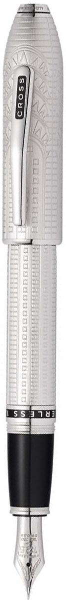 Cross Ручка перьевая Peerless Citizen LE New York цвет корпуса матовый платиновый перо золото 18КAT0706-6MYАмериканская компания CROSS – один из старейших брендов среди производителей пишущих инструментов и деловых аксессуаров. Компания была основана в 1846 году ювелиром Ричардом Кроссом и изначально специализировалась на производстве роскошных ручек из драгоценных металлов и ювелирных корпусов для карандашей, тисненных золотом и серебром. На протяжении долгих лет пишущие инструменты CROSS остаются классическим выбором для подарка.Ручка CROSS — это оригинальный персонгальный подарок и неотъемлемый элемент вашего стиля.Это голос доверия,который создает долгосрочные отношения между людьми и обогащет смыслом драгоценные моменты.Каждая ручка CROSS имеет пожизненную механическую гарантию.Ручка перьевая Cross Peerless 125 SE, New York, Platinum Plated RT (Перо M) / АРТИКУЛ: AT0706-6MYПеро: золото 18 Kt. (750 проба). Отделка пера: родиевое покрытие, оригинальная гравировка с юбилейной символикой 125. Корпус: ювелирная латунь. Механизм: съемный завинчивающийся колпачок. Система заправки: картриджно-конвертерная. Отделка: специальное покрытие платиной (Platinum Plated) с оригинальной алмазной гравировкой и отполированное вручную, специальная объемная гравировка PEERLESS 125 на барреле и CROSS на клипе колпачка с заполнением черным лаком, отдельные элементы дизайна - платина., кристалл Сваровски в виде рубина в навершии колпачка. Размеры ручки: длина - 156 мм, максимальная ширина (диаметр) -13,2 мм. Вес ручки: 43 гр. Цвет: серебристый с гравировкой. Особенности:специальное издание отдает дань уважения к вневременному классицизму Нью-Йорка. поставляется в специальной подарочной упаковке нового дизайна. оригинальная гравировка в виде культовой архитектуры арт-деко в Нью-Йорке (Chrysler Building). кристалл Сваровски в виде изумруда с огранкой под бриллиант в навершии колпачка (brilliant-faceted cut Emerald 501 Swarovski crystal). комплектуется поршневым конвертором для заправки 