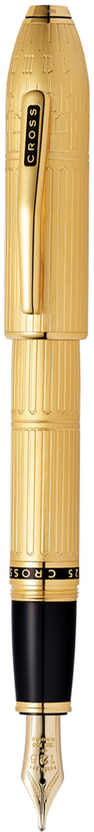 Cross Ручка перьевая Peerless Citizen LE London цвет корпуса золотистый перо золото 18КAT0706-7MDАмериканская компания CROSS – один из старейших брендов среди производителей пишущих инструментов и деловых аксессуаров. Компания была основана в 1846 году ювелиром Ричардом Кроссом и изначально специализировалась на производстве роскошных ручек из драгоценных металлов и ювелирных корпусов для карандашей, тисненных золотом и серебром. На протяжении долгих лет пишущие инструменты CROSS остаются классическим выбором для подарка.Ручка CROSS — это оригинальный персонгальный подарок и неотъемлемый элемент вашего стиля.Это голос доверия,который создает долгосрочные отношения между людьми и обогащет смыслом драгоценные моменты.Каждая ручка CROSS имеет пожизненную механическую гарантию.Ручка перьевая Cross Peerless 125 SE, London, Gold Plated GT (Перо M) / АРТИКУЛ: AT0706-7MDПеро: золото 18 Kt. (750 проба). Отделка пера: оригинальная гравировка с юбилейной символикой 125. Корпус: ювелирная латунь. Механизм: съемный завинчивающийся колпачок. Система заправки: картриджно-конвертерная. Отделка: специальное покрытие золотом 18 Kt. (18 Kt. Rolled Gold Plated) с оригинальной алмазной гравировкой и отполированное вручную, специальная объемная гравировка PEERLESS 125 на барреле и CROSS на клипе колпачка с заполнением черным лаком, отдельные элементы дизайна - позолота 23 Kt., кристалл Сваровски в виде рубина на торце колпачка. Размеры ручки: длина - 156 мм, максимальная ширина (диаметр) -13,2 мм. Вес ручки: 43 гр. Цвет: золотистый с гравировкой. Особенности:специальное издание отдает дань вечной элегантности Лондона. поставляется в специальной подарочной упаковке нового дизайна. оригинальная гравировка в виде традиционной архитектуры неоготики Лондона (Элизабет-Тауэр). кристалл Сваровски в виде рубина с огранкой под бриллиант в навершии колпачка (brilliant-faceted cut Ruby 501 Swarovski crystal). комплектуется поршневым конвертором для заправки чернилами из флакона. возможно использован