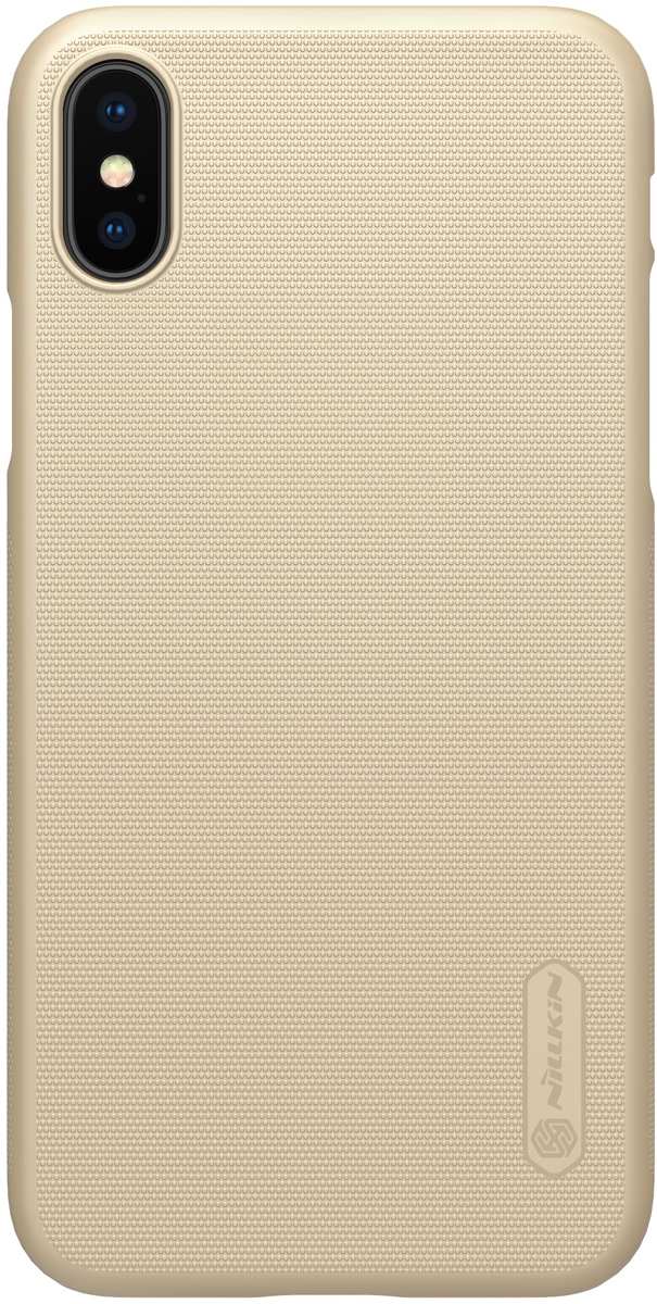 Nillkin Super Frosted Shield накладка для Apple iPhone X, Gold2000000157139Накладка без отверстия для лого Nillkin Super Frosted Shield для Apple iPhone X