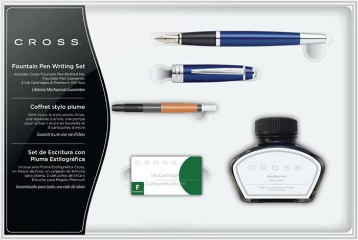 Cross Набор Bailey: перьевая ручка конвертер 3 картриджа флакон для чернил цвет корпуса глянцевый синий