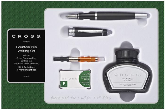 Cross Набор Bailey: перьевая ручка конвертер 3 картриджа флакон для чернил цвет корпуса матовый черный