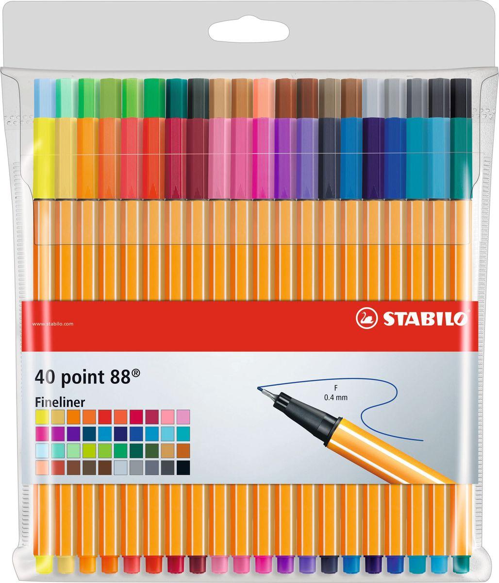 STABILO Набор капиллярных ручек Point 88 40 цветов8840-1Набор состоит из 40 цветов капиллярных ручек STABILO Point 88.Великолепное качество и функциональность капиллярных ручек - предмет гордости STABILO. Они сочетают необыкновенную мягкость письма и исключительную надежность. Эти ручки пишут в любом положении. Износостойкий наконечник и большой запас чернил значительно продлевают срок службы ручки. Чернила на водной основе мгновенно высыхают, не размазываются, не пропитывают бумагу, легко отстирываются и не имеют запаха. При работе с линейками и трафаретами не оставляют следов чернил благодаря металлическому стержню, защищающему наконечник.