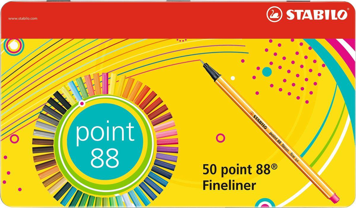 STABILO Набор капилярных ручек Point 88 50 цветов8850-6Набор из 50 цветов капиллярных ручек STABILO Point 88 в металлическом футляре. Великолепное качество и функциональность капиллярных ручек - предмет гордости STABILO. Они сочетают необыкновенную мягкость письма и исключительную надежность. Эти ручки пишут в любом положении. Износостойкий наконечник и большой запас чернил значительно продлевают срок службы ручки. Чернила на водной основе мгновенно высыхают, не размазываются, не пропитывают бумагу, легко отстирываются и не имеют запаха. При работе с линейками и трафаретами не оставляют следов чернил благодаря металлическому стержню, защищающему наконечник.