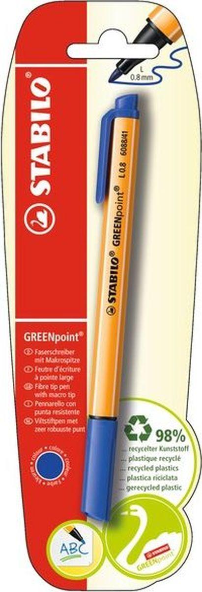 STABILO Ручка капилярная Greenpoint синяяB-41958-10STABILO GREENpoint 6088Экопродукция - корпус ручки на 98% изготовлен из переработанного пластика. Предназначена для письма, черчения, рисования. Толщина линии 0,8мм обеспечивает исключительно мягкое письмо и позволяет использовать ручку как тонко пишущий фломастер. Чернила на водной основе отличаются повышенной интенсивностью цвета. Износостойкий пишущий узел и большой запас чернил значительно увеличивают срок службы ручки. Цвет чернил синий.