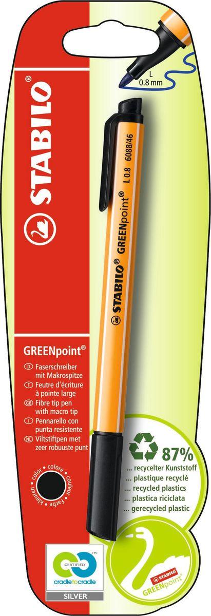 STABILO Ручка капилярная Greenpoint чернаяB-41961-10STABILO GREENpoint 6088 Экопродукция - корпус ручки на 98% изготовлен из переработанного пластика. Предназначена для письма, черчения, рисования. Толщина линии 0,8мм обеспечивает исключительно мягкое письмо и позволяет использовать ручку как тонко пишущий фломастер. Чернила на водной основе отличаются повышенной интенсивностью цвета. Износостойкий пишущий узел и большой запас чернил значительно увеличивают срок службы ручки. Цвет чернил синий.