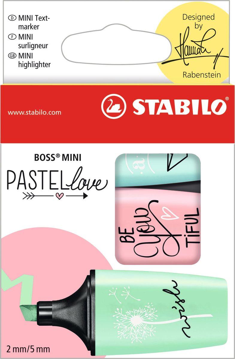 STABILO Набор маркеров Boss Mini Pastel Love 3 цвета 07/03-5707/03-57Популярная узнаваемая форма и высокий стандарт качества делают STABILO BOSS MINI Pastellove маркерами, идеальными для творческой работы и раскрашивания. Они легко помещаются в карман и находятся под рукой всегда, когда вам нужно! Данный набор из 3 пастельных цветов: мятный, розовый, бирюзовый - чтобы добавить красок в ваш день!•Популярный дизайн в шести модных пастельных тонах•Высокий стандарт качества - аналог STABILO BOSS •Идеально подходит для подчеркивания, выделения, раскрашивания и тонировки •Предназначен для любителей рисования маркерами и ценителей мягких пастельных оттенков •6 эксклюзивных дизайнов художника Ханны Рабенштайн.