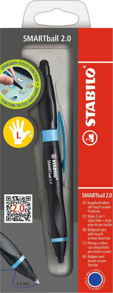 STABILO Ручка-стилус Smartball 2.0 для левшей синяя цвет корпуса черный голубой1851/2-41-1Ручка-стилус Smartball 2.0 объединяет письмо и работу на сенсорных экранах. Подходит для всех видов смартфонов (в т.ч. iPhone) и электронных планшетов (в т.ч. iPad) с дисплеями Touch Screen (емкостные экраны). Стилус включается при прикосновении к выемкам в области обхвата стороны-стилуса. Эргономичная форма области обхвата обеспечивает повышенный комфорт при работе. Длина письма 4000 метров. Толщина линии 0,5 мм. Сменный стержень. Две версии: для правшей (R), для левшей (L).