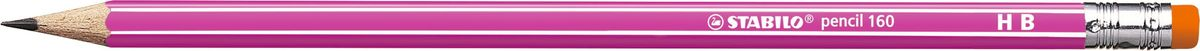 STABILO Карандаш чернографитный Pencil 160 цвет корпуса розовый2160/01-HBНеломающиеся грифели — гарантированное высокое качество STABILO. Узнаваемый дизайн с белыми продольными полосами. Шестигранный классический корпус. Лакированная поверхность, благодаря которой карандаш приятно держать в руке. Цветной ластик, отличный от цвета корпуса.Твердость HB.