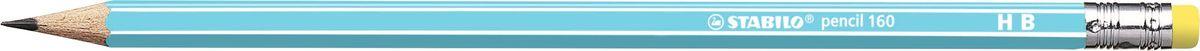 STABILO Карандаш чернографитный Pencil 160 цвет корпуса голубой2160/02-HBНеломающиеся грифели — гарантированное высокое качество.Узнаваемый дизайн с белыми продольными полосами.Шестигранный классический корпус.Лакированная поверхность, благодаря которой карандаш приятно держать вруке. Цветной ластик, отличный от цвета корпуса.