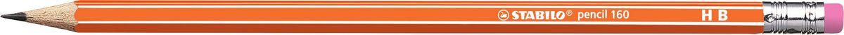 STABILO Карандаш чернографитный Pencil 160 цвет корпуса оранжевый2160/03-HBНеломающиеся грифели — гарантированное высокое качество STABILO. Узнаваемый дизайн с белыми продольными полосами. Шестигранный классический корпус. Лакированная поверхность, благодаря которой карандаш приятно держать в руке. Цветной ластик, отличный от цвета корпуса.Твердость HB.
