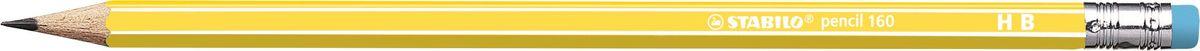 STABILO Карандаш чернографитный Pencil 160 цвет корпуса желтый2160/05-HBНеломающиеся грифели — гарантированное высокое качество STABILO. Узнаваемый дизайн с белыми продольными полосами. Шестигранный классический корпус. Лакированная поверхность, благодаря которой карандаш приятно держать в руке. Цветной ластик, отличный от цвета корпуса.Твердость HB.