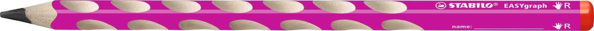 STABILO Карандаш чернографитный EASYgraph для правшей цвет корпуса розовый322/01-HBЧернографитный карандаш для правшей в цветном корпусе. Специальные углубления на корпусе карандаша предотвращают скольжениепальцев при письме и фиксируют их в правильном положении, что позволяетсвести к минимуму необходимые усилия для удержания карандаша в руке.Утолщенный грифель карандаша отличается особой яркость и стойкостью кполомкам. Существуют две версии: для правшей (R) и для левшей (L).