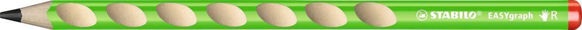 STABILO Карандаш чернографитный EASYgraph для правшей цвет корпуса зеленый322/04-HBЧернографитный карандаш STABILO EASYgraph для правшей в цветном корпусе. Специальные углубления на корпусе карандаша предотвращают скольжение пальцев при письме и фиксируют их в правильном положении, что позволяет свести к минимуму необходимые усилия для удержания карандаша в руке. Утолщенный грифель карандаша отличается особой яркость и стойкостью к поломкам. Существуют две версии: для правшей (R) и для левшей (L). Твердость НВ.