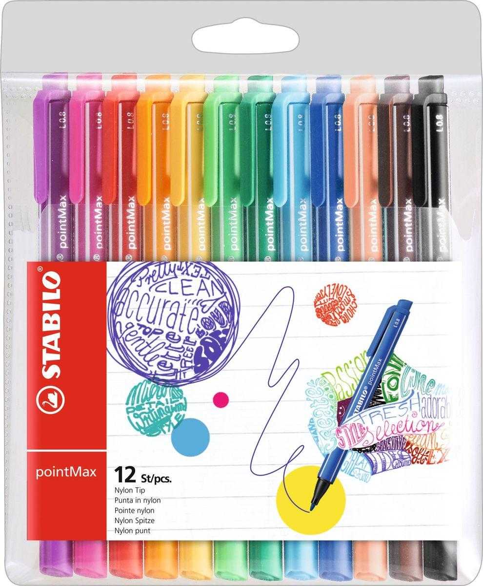 STABILO Набор капиллярных ручек PointMax 12 цветов488/12-01Капиллярная ручка STABILO PointMax, созданная с заботой о максимально комфортном письме, эта ручка настолько вам понравится, что станет вашим продолжением. Целевая аудитория – художники, любители рисования. Особенности: Инновационные капиллярные ручки интенсивных цветов для творчества и письма в больших объемах; Уникальность: специально разработанный, надежный и очень прочный наконечник; Высокий комфорт и удовольствие от письма - даже при многочасовом ежедневном использовании; Без запаха, чернила на водной основе; Широкая палитра - 12 ярких цветов, толщина линии 0,8 мм; Ручки не высыхают без колпачка до 24 часов; С клипом, прикрепленным на торце, и колпачком.