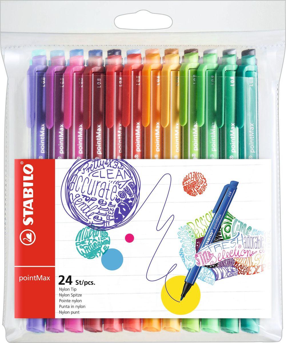 STABILO Набор капилярных ручек pointMax 24 цветов488/24-01Капилярная ручка STABILO pointMax. Созданная с заботой о максимально комфортном письме, эта ручка настолько вам понравится, что станет вашим продолжением. Целевая аудитория – художники, любители рисования. Особенности: Инновационные капиллярные ручки интенсивных цветов для творчества и письма в больших объемах; Уникальность: специально разработанный, надежный и очень прочный наконечник; Высокий комфорт и удовольствие от письма - даже при многочасовом ежедневном использовании; Без запаха, чернила на водной основе; Широкая палитра - 24 ярких цвета, толщина линии 0,8 мм; Ручки не высыхают без колпачка до 24 часов; С клипом, прикрепленным на торце, и колпачком.
