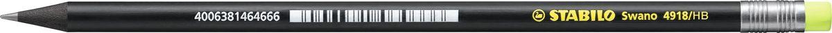 STABILO Карандаш Swano 4918 чернографитный цвет корпуса черный цвет ластика неоновый желтый карандаш чернографитный stabilo стабило swano с ластиком зеленый корпус 4907 010hb