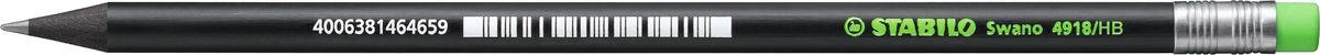 STABILO Карандаш Swano 4918 чернографитный цвет корпуса черный цвет ластика неоновый зеленый карандаш чернографитный stabilo стабило swano с ластиком зеленый корпус 4907 010hb