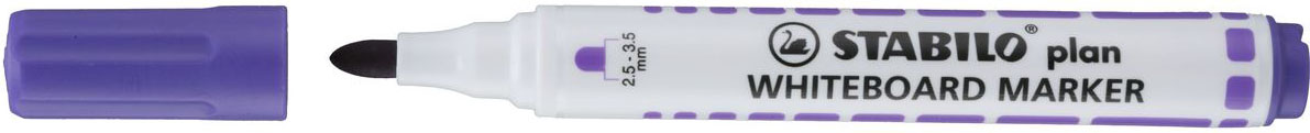 STABILO Маркер для досок Plan цвет фиолетовый641/55STABILO plan 641 Заправляемый маркер для белых досок с круглым наконечником. Надписи легко и без следов удаляются сухой салфеткой или специальной губкой. Идеально подходит для письма на флипчартах и бумаге. Чернила без запаха. Толщина линии 2,5-3,5 мм. 6 различных цветов чернил.