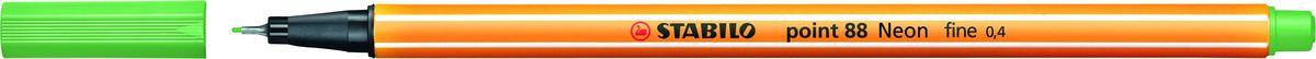 STABILO Ручка капилярная Point 88 неоновая зеленая88/033STABILO Point 88Капиллярная ручка идеально подходит для особо легкого и мягкого письма, рисования и черчения. Металлическое обжатие наконечника дает возможность работать с линейками и трафаретами. Высокое качество износостойкого пишущего наконечника и большой запас чернил значительно увеличивают срок службы ручки. Ручка долгое время сохраняет работоспособность без колпачка. Чернила на водной основе. Цвет колпачка соответствует цвету чернил. Толщина линии 0,4 мм. 10 шт. в упаковке.