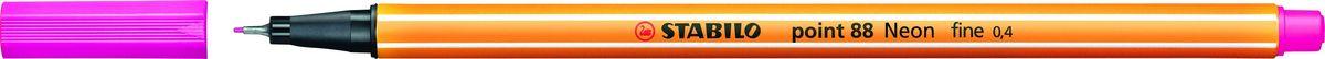 STABILO Ручка капилярная Point 88 неоновая розовая88/056STABILO Point 88Капиллярная ручка идеально подходит для особо легкого и мягкого письма, рисования и черчения. Металлическое обжатие наконечника дает возможность работать с линейками и трафаретами. Высокое качество износостойкого пишущего наконечника и большой запас чернил значительно увеличивают срок службы ручки. Ручка долгое время сохраняет работоспособность без колпачка. Чернила на водной основе. Цвет колпачка соответствует цвету чернил. Толщина линии 0,4 мм. 10 шт. в упаковке.