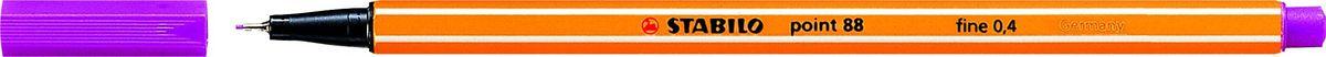 STABILO Ручка капилярная Point 88 фиолетовая88/55STABILO Point 88Капиллярная ручка идеально подходит для особо легкого и мягкого письма, рисования и черчения. Металлическое обжатие наконечника дает возможность работать с линейками и трафаретами. Высокое качество износостойкого пишущего наконечника и большой запас чернил значительно увеличивают срок службы ручки. Ручка долгое время сохраняет работоспособность без колпачка. Чернила на водной основе. Цвет колпачка соответствует цвету чернил. Толщина линии 0,4 мм. 10 шт. в упаковке.