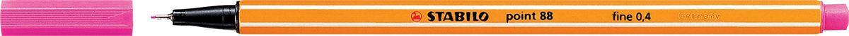 STABILO Ручка капилярная Point 88 розовая88/56STABILO Point 88Капиллярная ручка идеально подходит для особо легкого и мягкого письма, рисования и черчения. Металлическое обжатие наконечника дает возможность работать с линейками и трафаретами. Высокое качество износостойкого пишущего наконечника и большой запас чернил значительно увеличивают срок службы ручки. Ручка долгое время сохраняет работоспособность без колпачка. Чернила на водной основе. Цвет колпачка соответствует цвету чернил. Толщина линии 0,4 мм. 10 шт. в упаковке.