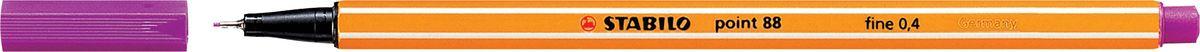 STABILO Ручка капилярная Point 88 сиреневая88/58STABILO Point 88Капиллярная ручка идеально подходит для особо легкого и мягкого письма, рисования и черчения. Металлическое обжатие наконечника дает возможность работать с линейками и трафаретами. Высокое качество износостойкого пишущего наконечника и большой запас чернил значительно увеличивают срок службы ручки. Ручка долгое время сохраняет работоспособность без колпачка. Чернила на водной основе. Цвет колпачка соответствует цвету чернил. Толщина линии 0,4 мм. 10 шт. в упаковке.