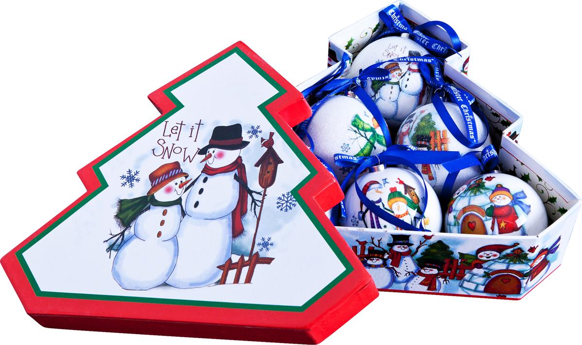 Набор новогодних подвесных украшений Mister Christmas Папье-маше, диаметр 7,5 см, 6 шт. PM-25-6TPM-25-6T
