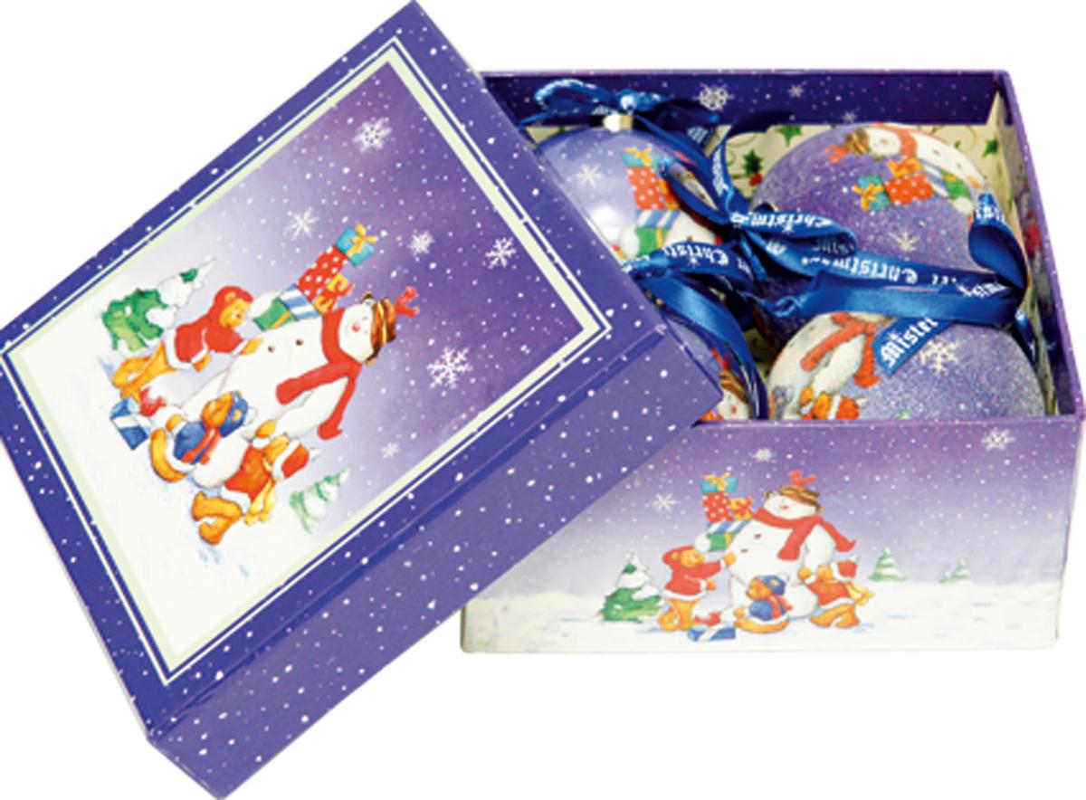 Набор новогодних подвесных украшений Mister Christmas Папье-маше, диаметр 7,5 см, 4 шт. PM-14-4 набор новогодних подвесных украшений mister christmas папье маше диаметр 7 5 см 14 шт pm 13 14