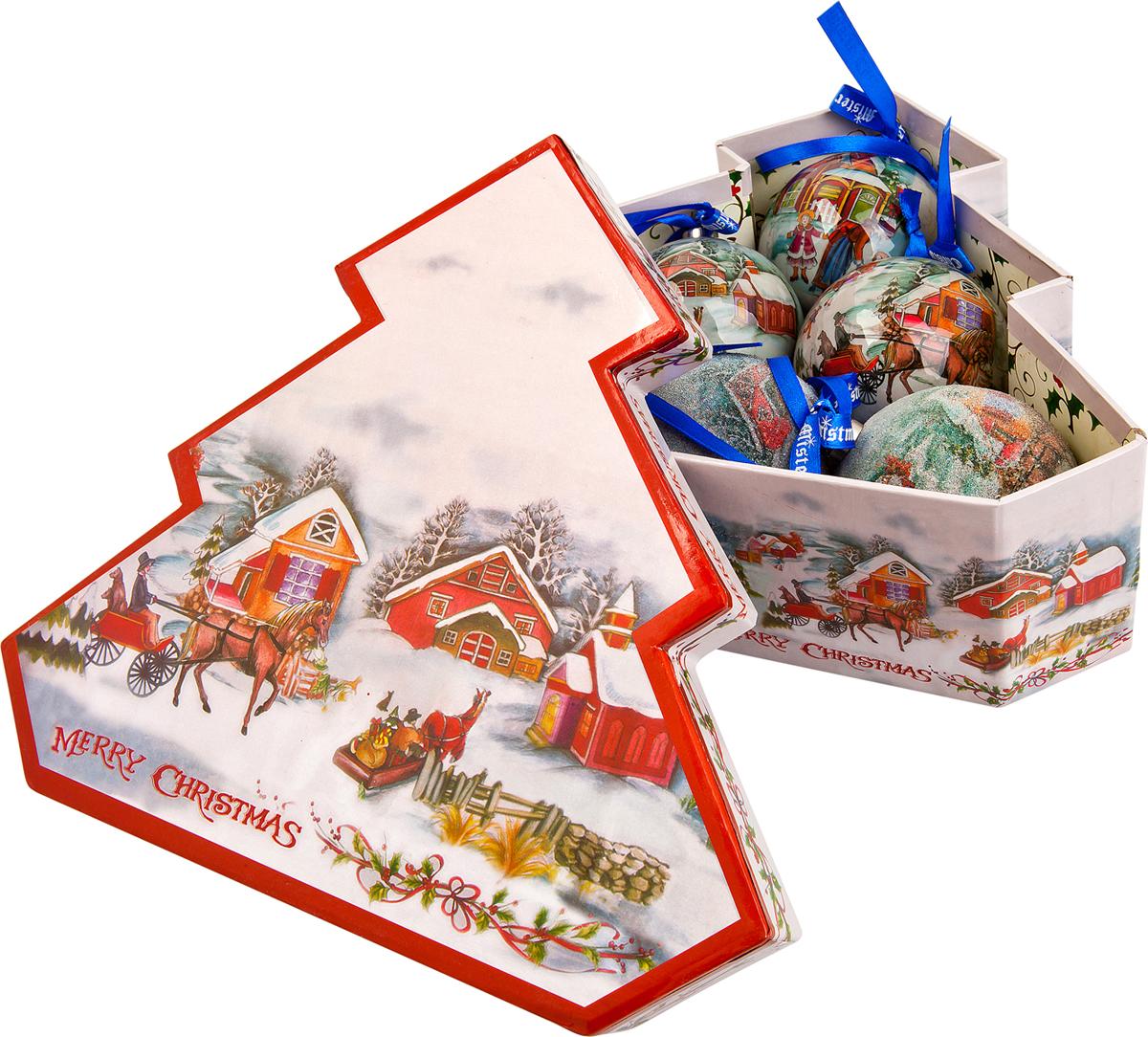 Набор новогодних подвесных украшений Mister Christmas Папье-маше, диаметр 7,5 см, 6 шт. PM-13-6TPM-13-6T