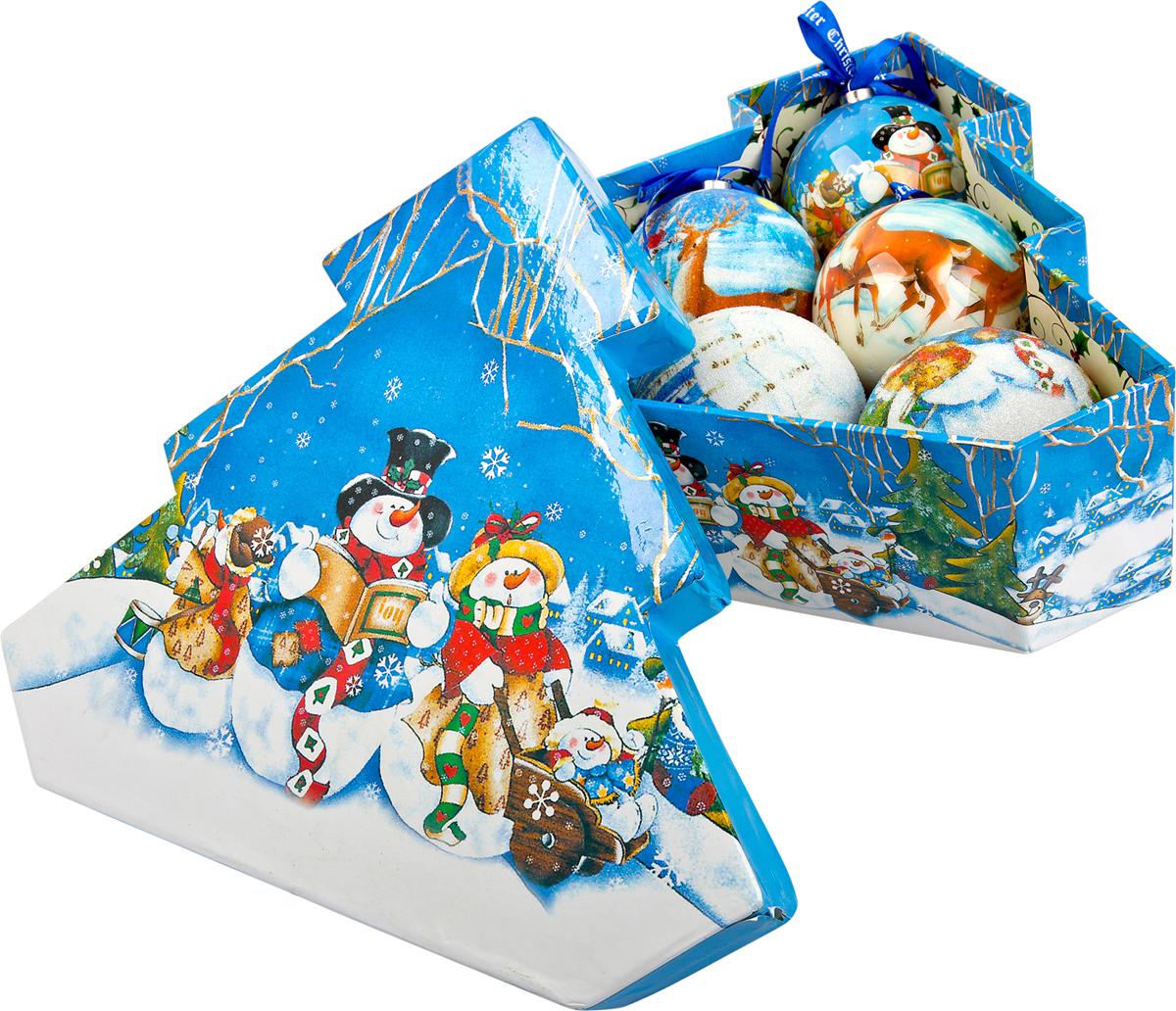 Набор новогодних подвесных украшений Mister Christmas Папье-маше, диаметр 7,5 см, 6 шт. PM-2-6TPM-2-6T