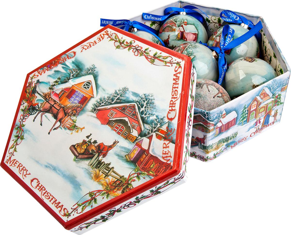 Набор новогодних подвесных украшений Mister Christmas Папье-маше, диаметр 7,5 см, 7 шт. PM-13-7PM-13-7