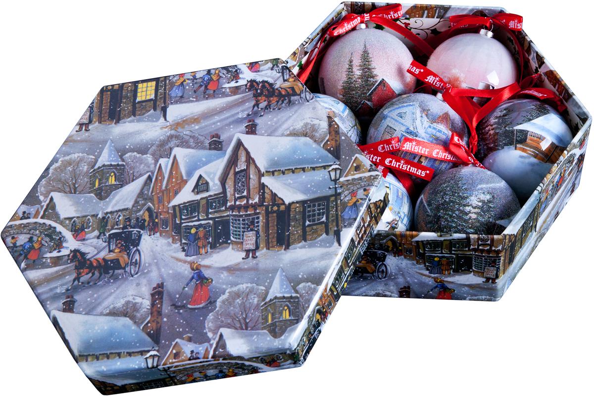 Набор новогодних подвесных украшений Mister Christmas Папье-маше, диаметр 7,5 см, 7 шт. PM-24-7PM-24-7