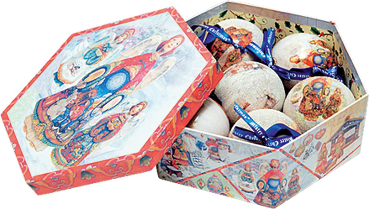 Набор новогодних подвесных украшений Mister Christmas Папье-маше, диаметр 7,5 см, 7 шт. PM-6-7 mister christmas 1 6 м douglas gold pine 160