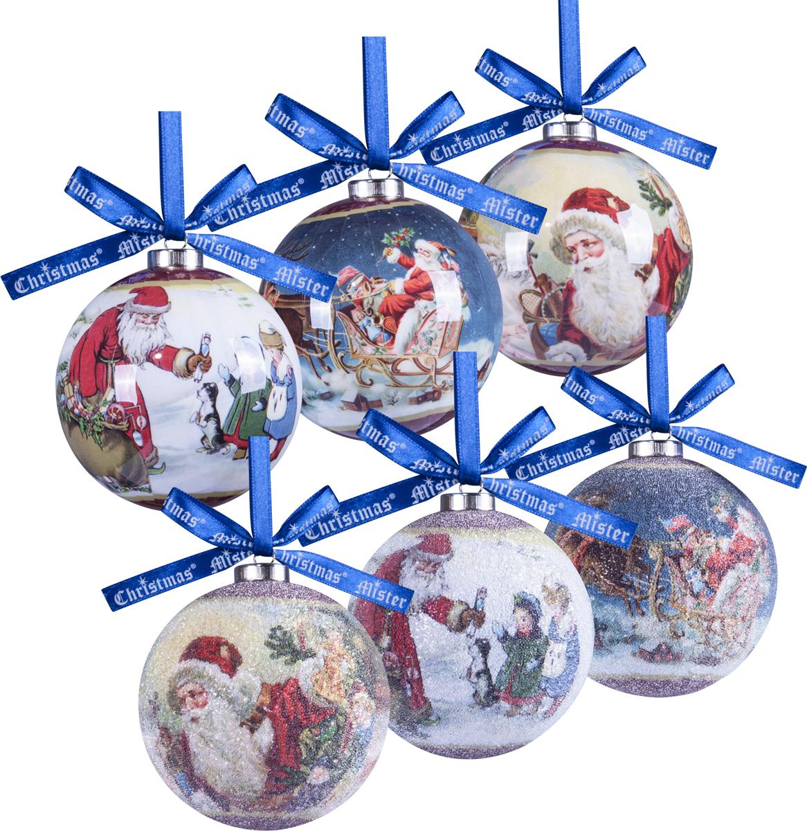 Набор новогодних подвесных украшений Mister Christmas Папье-маше, диаметр 7,5 см, 6 шт. PM-41-6T mister miracle
