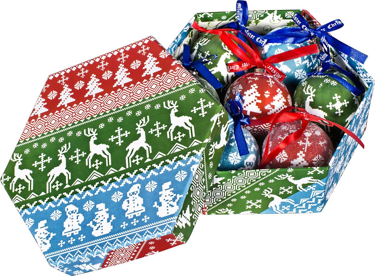 Набор новогодних подвесных украшений Mister Christmas Папье-маше, диаметр 7,5 см, 7 шт. PM-43-7 набор новогодних подвесных украшений mister christmas папье маше диаметр 7 5 см 14 шт pm 13 14
