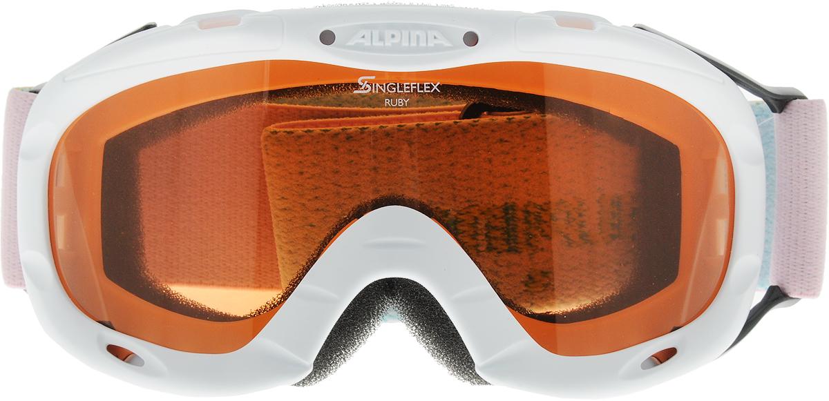 Очки горнолыжные Alpina Ruby S SH, цвет: белый, розовыйA7050412Спортивная горнолыжная маска для детей и подростков обеспечивает высокую контрастность в любых погодных условиях, благодаря поляризационным фильтрам Quattroflex: 100% защита от УФ-А, -В, -С до 400 нм, устойчивые к появлению царапин, с антизапотевающим покрытием. Система вентиляции TURBO. Гибкая оправа. Система крепления: мягкая широкая регулируемая резинка. Маска идеальна для ношения со шлемом.Линзы: Quattroflex. Оправа: Гибкая оправа.Степень светопропускаемости: 43-80%.
