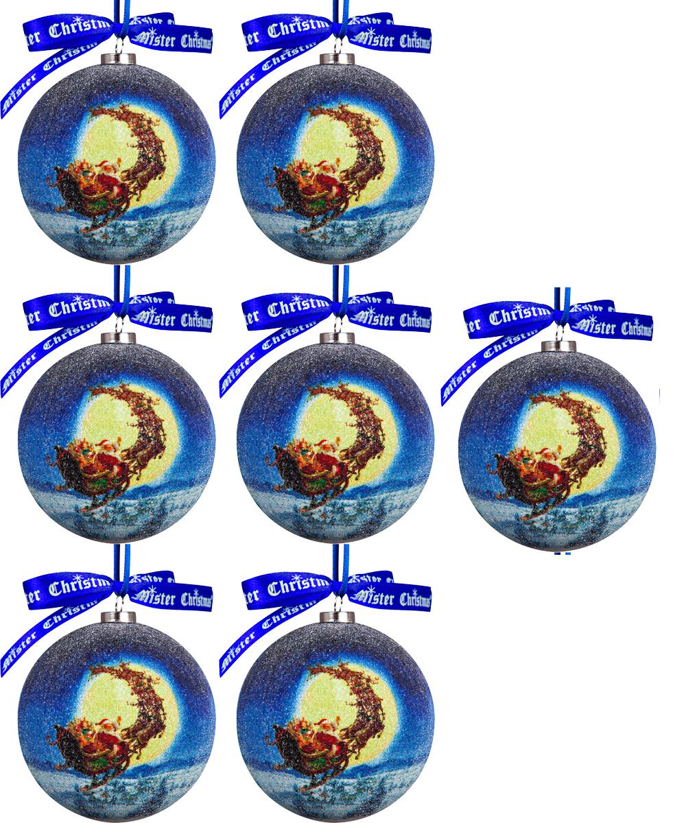 Набор новогодних подвесных украшений Mister Christmas Папье-маше, диаметр 7,5 см, 7 шт. PM-70-7PM-70-7