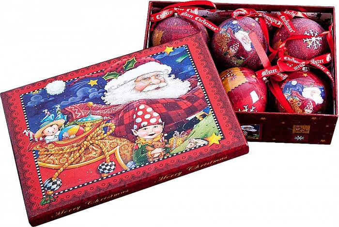 Набор новогодних подвесных украшений Mister Christmas Папье-маше, диаметр 7,5 см, 6 шт. PM-29-6PM-29-6