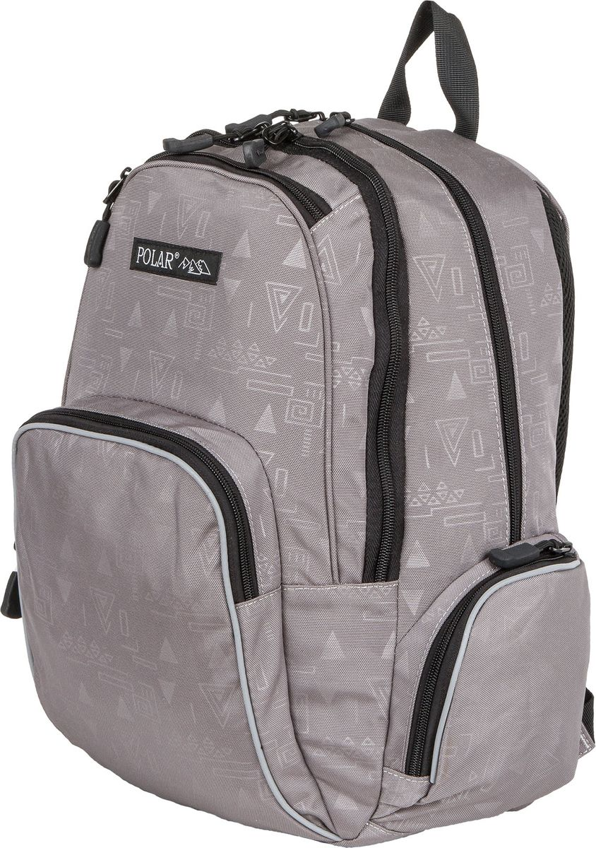 Рюкзак молодежный Polar, цвет: серый, 22 л. 1730317303Городской подростковый рюкзак Polar с модным дизайном подойдет для ежедневного использования. Рюкзак выполнен из полиэстера. Он имеет два основных отделения, передний карман с кармашками для канцелярии, 2 боковых кармана на молнии. Рюкзак оснащен ортопедической спинкой, ручкой для переноски и регулируемыми лямками.
