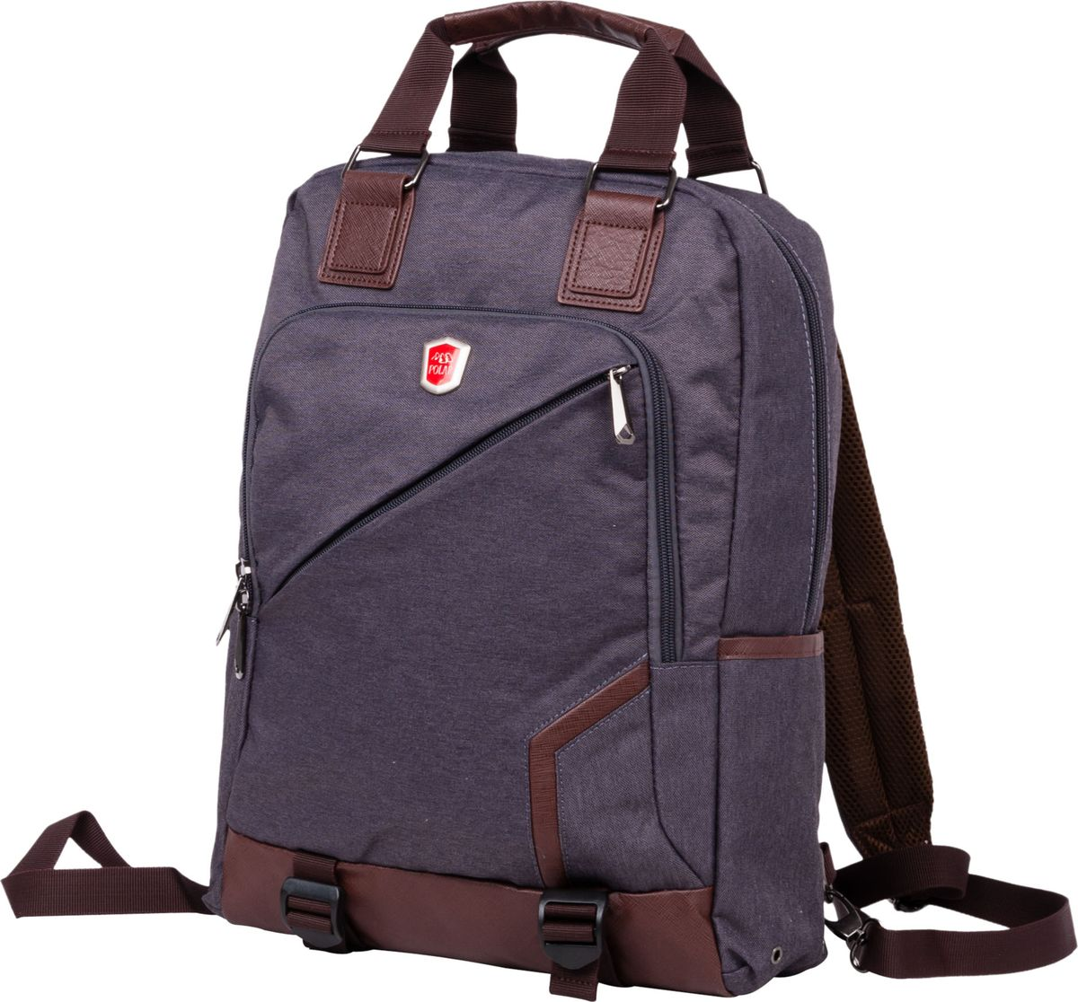 Рюкзак-сумка городской Polar, цвет: коричневый, 12 л. 541-1541-1Сумка-рюкзак Polar имеет одно вместительное отделение, которое закрывается на молнию. Внутри расположены два кармана из сетчатого материала, и вместительное отделение под ноутбук или планшет (данное отделение фиксируется светло-серой резинкой на липучке). Спереди рюкзака размещён большой карман на молнии, который имеет ещё одну молнию по периметру (карман украшен логотипом компании Polar). По бокам расположены ещё два малых кармана. Лямки пристёгиваются карабинами и регулируются по длине. Сзади присутствует большой открытый карман на липучке, куда можно убрать лямки и переносить сумку в руке. Сверху расположены ручки для переноски сумки-рюкзака высотой 11см. Края карманов, ручки и дно обработаны вставками из экокожи.