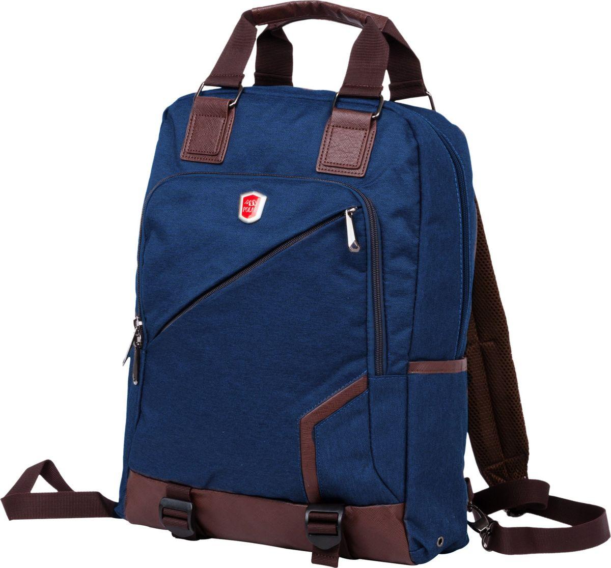Рюкзак-сумка городской Polar, цвет: синий, 12 л. 541-1541-1Сумка-рюкзак Polar имеет одно вместительное отделение, которое закрывается на молнию. Внутри расположены два кармана из сетчатого материала, и вместительное отделение под ноутбук или планшет (данное отделение фиксируется светло-серой резинкой на липучке). Спереди рюкзака размещён большой карман на молнии, который имеет ещё одну молнию по периметру (карман украшен логотипом компании Polar). По бокам расположены ещё два малых кармана. Лямки пристёгиваются карабинами и регулируются по длине. Сзади присутствует большой открытый карман на липучке, куда можно убрать лямки и переносить сумку в руке. Сверху расположены ручки для переноски сумки-рюкзака высотой 11см. Края карманов, ручки и дно обработаны вставками из экокожи.