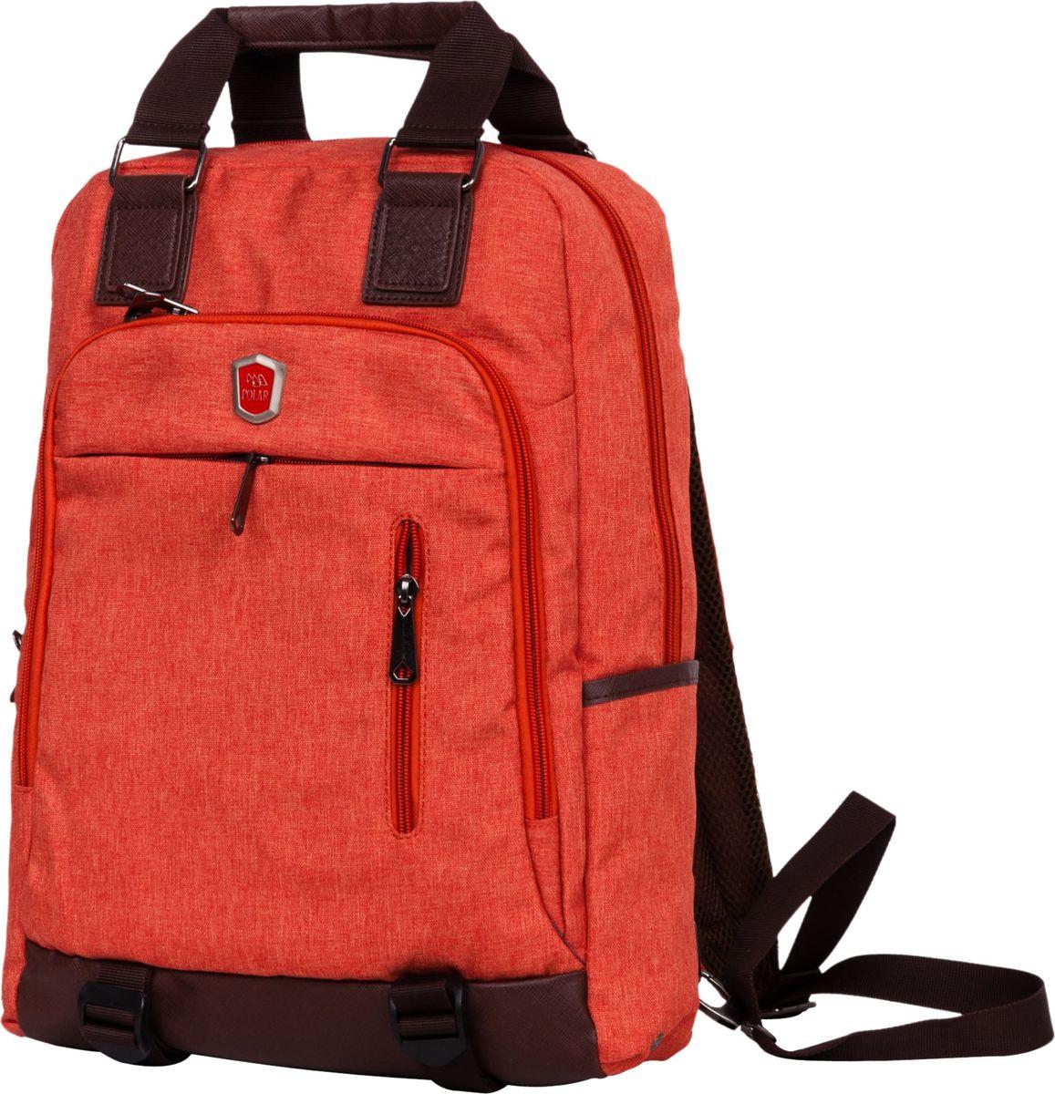 Рюкзак-сумка городской Polar, цвет: оранжевый, 12 л. 541-7541-7Сумка-рюкзак Polar имеет одно вместительное отделение, которое закрывается на молнию. Внутри расположены два больших кармана из сетчатого материала, и отделение под ноутбук или планшет (28 х 33 х 2). Спереди сумки расположен большой накладной карман на молнии; на клапане есть два дополнительных кармана на молнии для небольших предметов. По бокам расположены два открытых кармана. Лямки пристегиваются карабинами и регулируются по длине. Сзади расположен большой открытый карман на липучке, куда можно спрятать лямки, и переносить сумку в руке. Сверху расположены ручки высотой 11 см. Края карманов, ручки и дно обработаны вставками из экокожи.