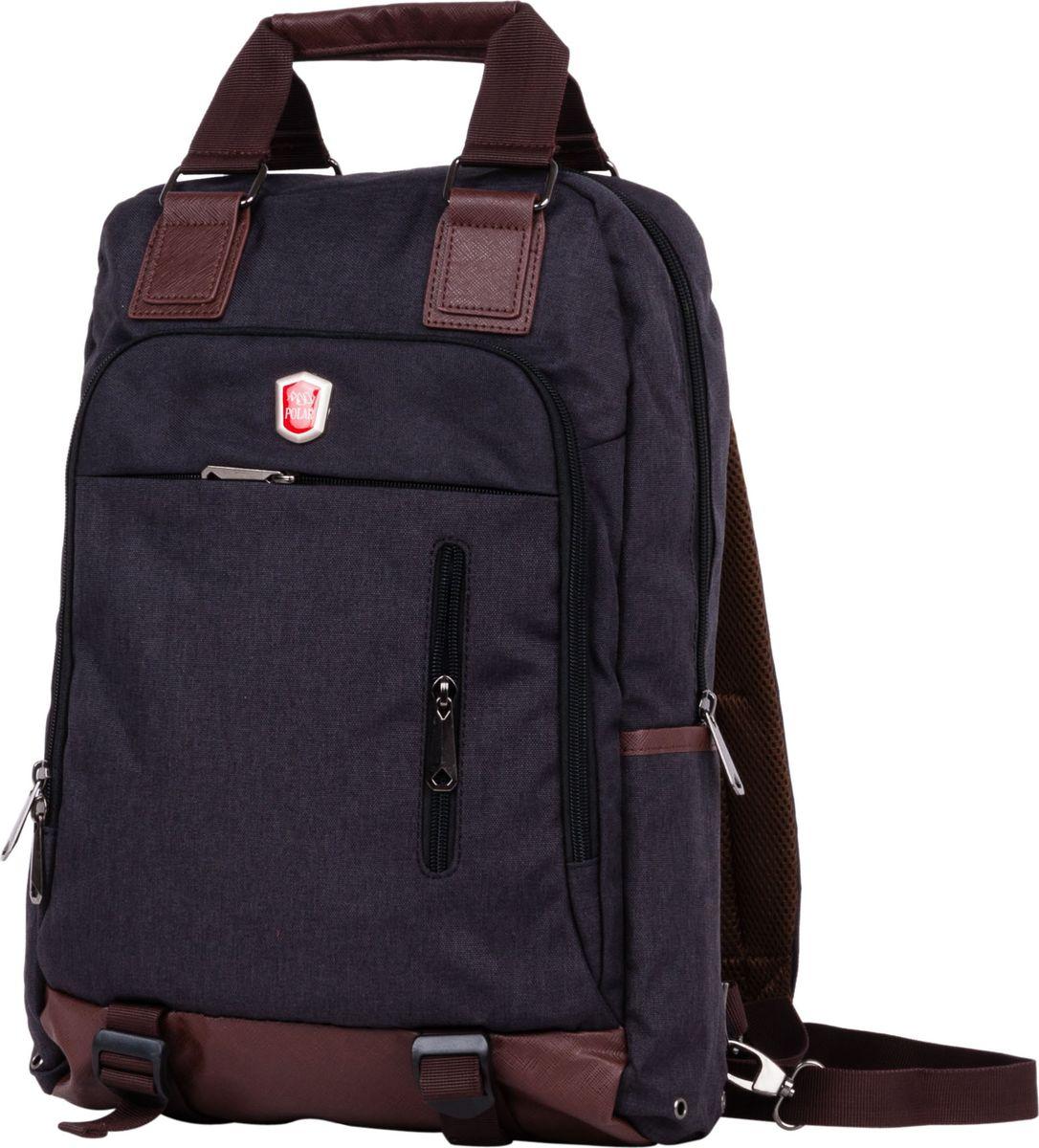 Рюкзак-сумка городской Polar, цвет: черный, 12 л. 541-7541-7Сумка-рюкзак Polar имеет одно вместительное отделение, которое закрывается на молнию. Внутри расположены два больших кармана из сетчатого материала, и отделение под ноутбук или планшет (28 х 33 х 2). Спереди сумки расположен большой накладной карман на молнии; на клапане есть два дополнительных кармана на молнии для небольших предметов. По бокам расположены два открытых кармана. Лямки пристегиваются карабинами и регулируются по длине. Сзади расположен большой открытый карман на липучке, куда можно спрятать лямки, и переносить сумку в руке. Сверху расположены ручки высотой 11 см. Края карманов, ручки и дно обработаны вставками из экокожи.