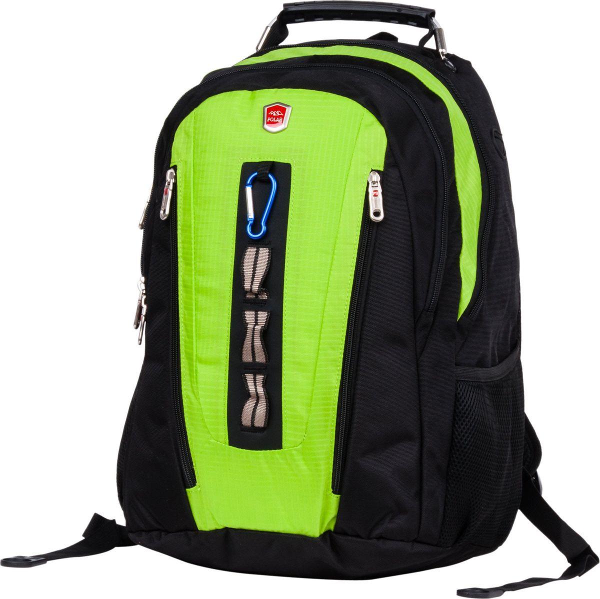 """Рюкзак городской Polar, цвет: зеленый, 26,5 л. 983049983049Рюкзак Polar подойдет для ноутбука до 15"""". Во втором отделении есть карман для ноутбука (30 х 29 х 3 см), большой карман на молнии для личных вещей, и небольшой открытый карман для мелких предметов. Спереди накладной карман на молнии, внутри которого органайзер и крепление для ключей. На клапане накладного кармана расположены два кармана на молнии. По бокам два кармана из мягкого сетчатого материала на резинке. Сверху эргономичная и крепкая ручка с металлическим тросом внутри для переноски, а также есть петля подвешивания."""