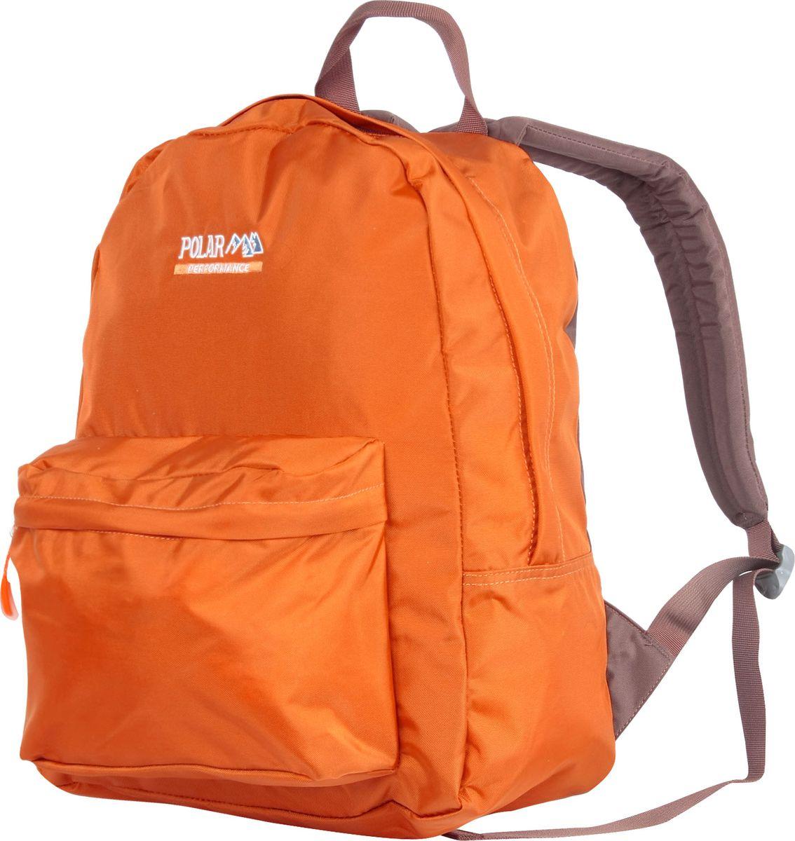 Рюкзак городской Polar, цвет: оранжевый, 27,5 л. П1611-02П1611-02Рюкзак легкий городской. Одно основное отделение. Спереди — накладной карман на молнии. Спинка и лямки рюкзака пропенены.