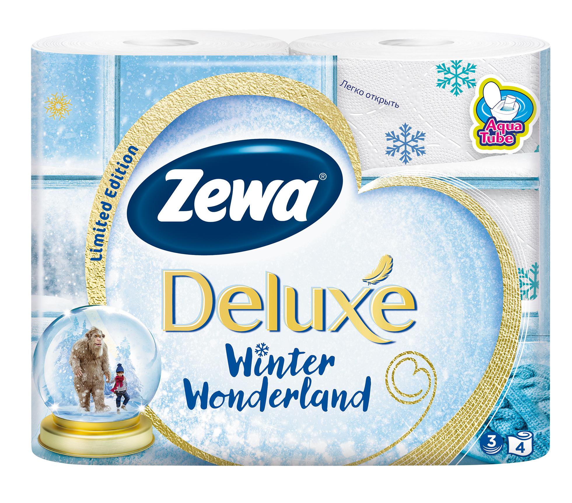 Туалетная бумага Zewa Deluxe. Winter Collection, трехслойная, цвет: белый, 4 рулона3228Трехслойная туалетная бумага Zewa Deluxe. Winter Collection изготовлена из целлюлозы высшего качества.Листы белого цвета оформлены тисненым рисунком в виде разноцветных снежинок. Мягкая, нежная, но в тоже время прочная, бумага не расслаивается и отрывается строго по линии перфорации. Рулоны оснащены смываемой втулкой. Бумага без аромата. Туалетная бумага имеет смываемую биоразлагаемую втулку. Материал: 100% целлюлоза.Количество листов (в одном рулоне): 150 шт.Количество слоев: 3.Размер листа: 9,5 см х 13,8 см.Длина рулона: 20,7 м.