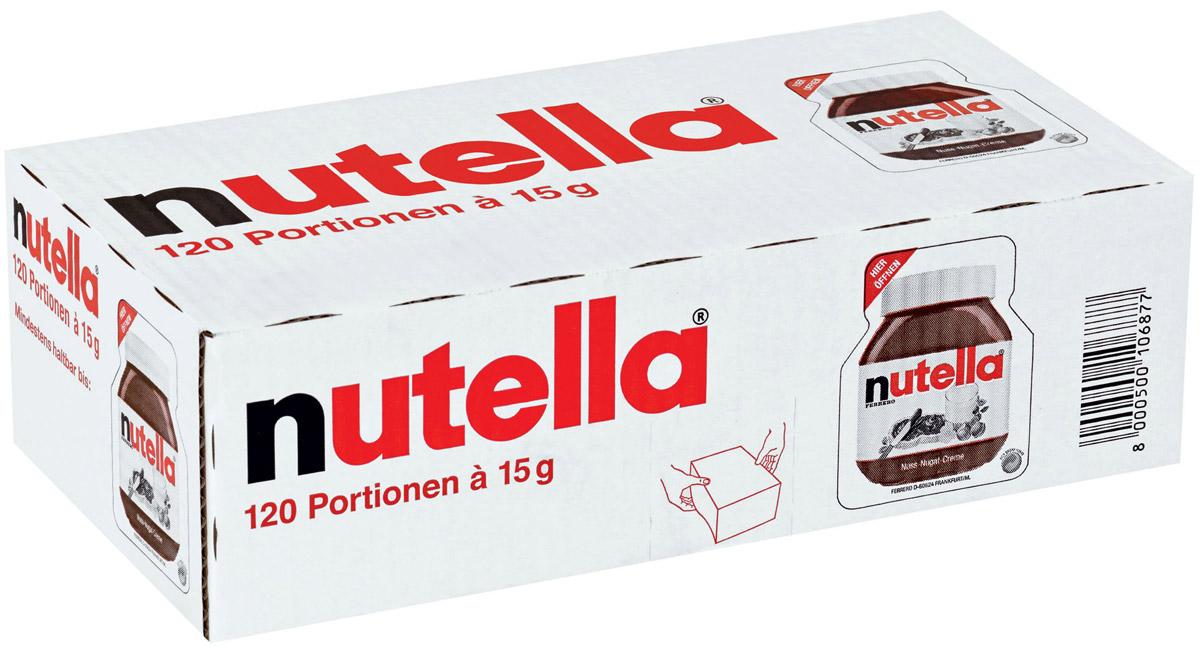 Nutella паста ореховая с добавлением какао, 120 шт по 15 гХР77118931/ХР77105907Nutella обладает неповторимым вкусом лесных орехов и какао, а ее нежная кремовая текстура делает вкус еще интенсивнее. Секрет уникального вкуса в особенном рецепте, отборных ингредиентах и тщательном приготовлении. При производстве Nutella не используются консерванты и красители. Сегодня Nutella является одной из самых узнаваемых и любимых марок в мире, продуктом, продажи которого составляют треть годового оборота компании «Ferrero». Хороший день начинается с Nutella!