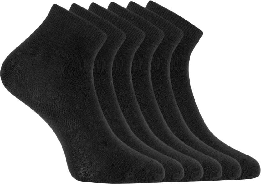 Носки женские oodji, цвет: черный, 6 пар. 57102418T6/47469/2900N. Размер 35/3757102418T6/47469/2900NКрасивые и практичные укороченные носки от oodj в наборе из шести пар. Носки из хлопка с добавлением эластана приятны на ощупь, обладают прекрасными практическими характеристиками: позволяют коже дышать, впитывают влагу, приятны для тела. Благодаря добавлению эластана даже после многочисленных стирок носки не вытягиваются и отлично сохраняют первоначальную форму. В этих носках вашим ногам будет комфортно!С набором из шести пар вы всегда знаете, что у вас в запасе есть чистые носки. И сможете быстрее собираться, особенно если времени не хватает. Укороченные носки прекрасно подходят под джинсы или спортивные брюки. Они идеально сочетаются с кедами, кроссовками или ботинками. Стильные и комфортные носки станут отличным дополнением для вашей коллекции базовых вещей.